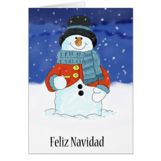 Feliz Navidad Snowman Season's Greetings Card