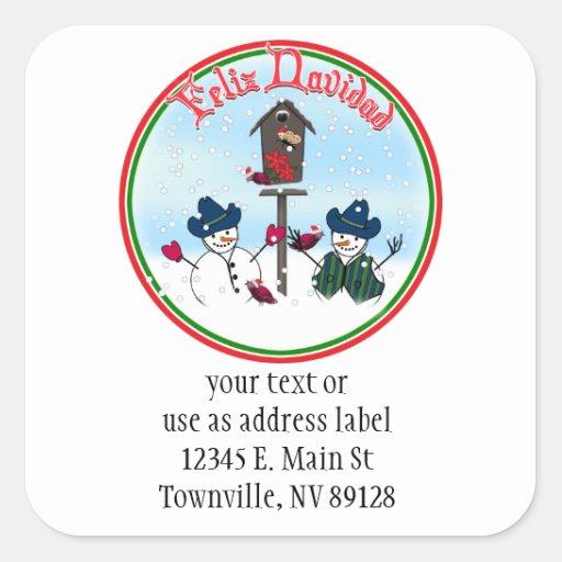 Feliz Navidad - Snowmen with Cowboy Hats Stickers