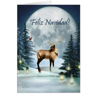 Feliz Navidad - Spanish Christmas Winter Deer Card