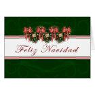 Feliz Navidad - Spanish Garland Red Bows Card