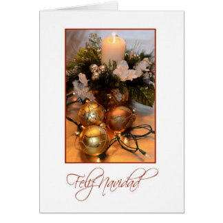 Feliz Navidad, Spanish white with gold bulbs and c Card