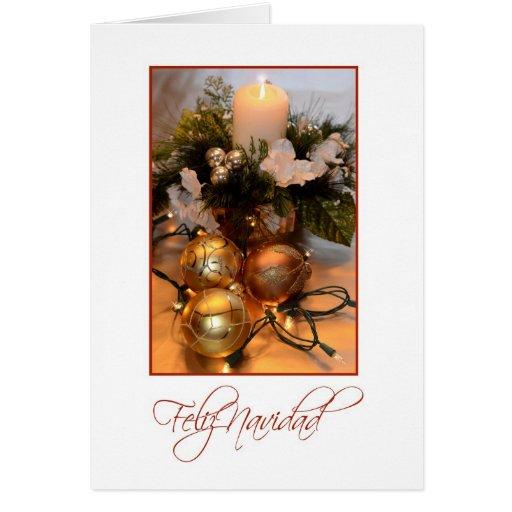Feliz Navidad, Spanish white with gold bulbs and c Greeting Card