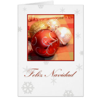 Feliz Navidad, Spanish white with ornaments and sn Card