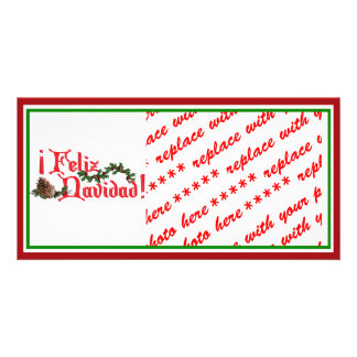 Feliz Navidad Text Design with Pine Cones Personalized Photo Card