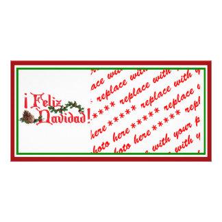 Feliz Navidad Text Design with Pine Cones Personalized Photo Card