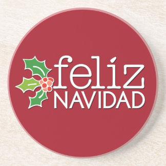 Felíz Navidad with Christmas Holly Coaster