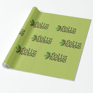 Feliz Navidad with Christmas Holly Wrapping Paper