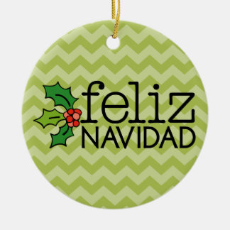 Feliz Navidad with green chevrons Round Ceramic Decoration
