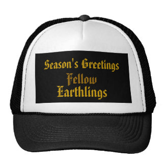 """Fellow Earthlings"" Funny Gold Merry Xmas Holiday Cap"