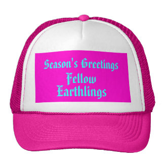 """""""Fellow Earthlings"""" Funny Pink Merry Xmas Holiday Cap"""