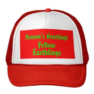 """Fellow Earthlings"" Funny Red/Green Merry Xmas Cap"