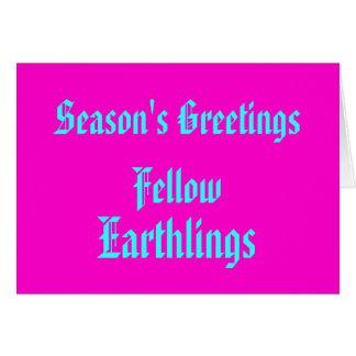 """Fellow Earthlings"" Funny Retro-Pink Merry Xmas Greeting Card"