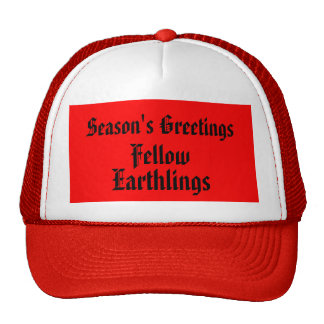 """Fellow Earthlings"" Red Funny Merry Xmas Quote Cap"