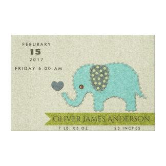 FELT PATCHWORK BLUE BABY ELEPHANT BIRTH STATEMENT CANVAS PRINT