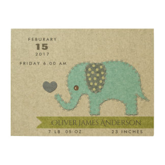 FELT PATCHWORK BLUE BABY ELEPHANT BIRTH STATEMENT WOOD PRINT