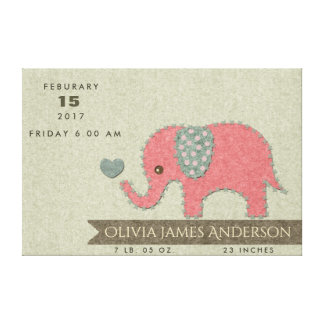FELT PATCHWORK PINK BABY ELEPHANT BIRTH STATEMENT CANVAS PRINT
