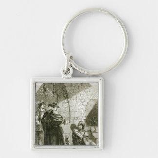 Felton in Prison Silver-Colored Square Key Ring