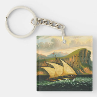 Felucca off Gibraltar by Thomas Chambers Key Ring