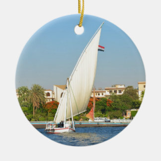 Felucca On The Nile Round Ceramic Decoration