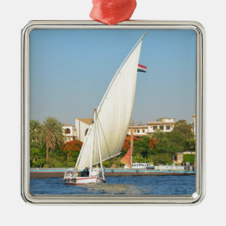 Felucca On The Nile Silver-Colored Square Decoration