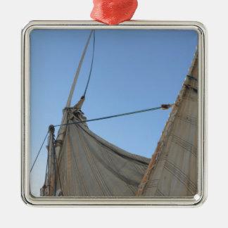 Felucca Sail Silver-Colored Square Decoration