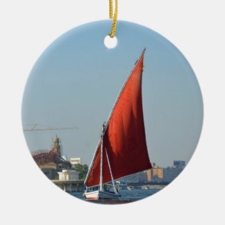 Felucca With Red Sail Round Ceramic Decoration