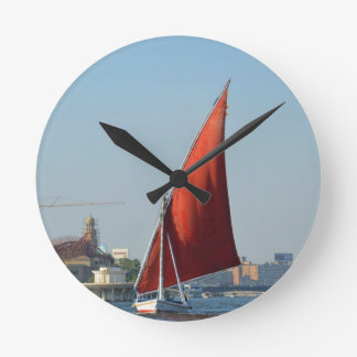 Felucca With Red Sail Wall Clocks