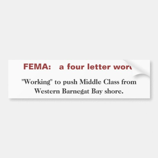 4 letter word fema a four letter word bumper sticker zazzle 39659