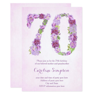 female 70th birthday invitations, lavender invites