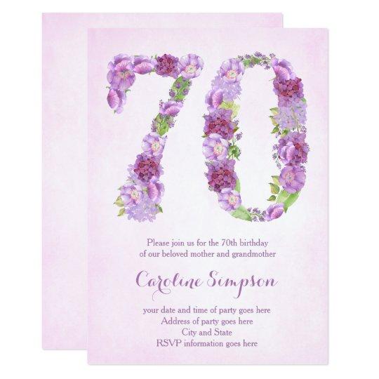 female 70th birthday invitations, lavender invites