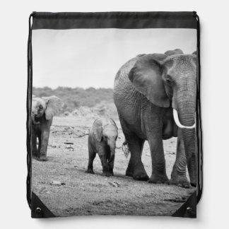 Female African elephant and three calves, Kenya. Drawstring Bag