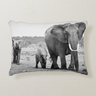 Female African elephant and three calves, Kenya. Accent Pillow