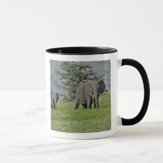 Female African Elephant with baby, Loxodonta 2 Mug