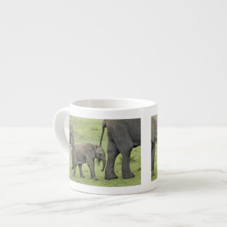 Female African Elephant with baby, Loxodonta 3 Espresso Cup