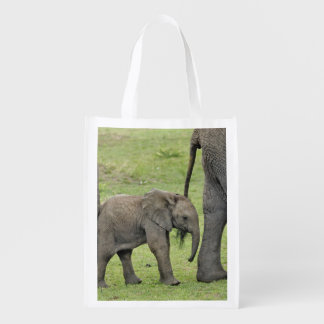 Female African Elephant with baby, Loxodonta 3 Reusable Grocery Bag