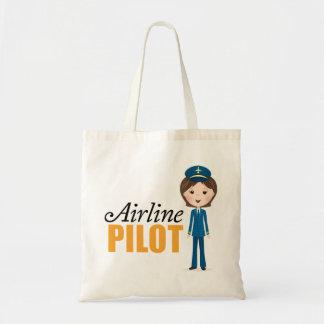 Female airline pilot cartoon girl in uniform