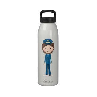 Female airline pilot cartoon girl in uniform drinking bottles
