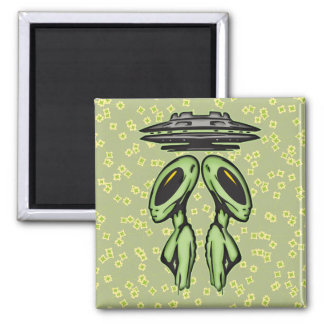 Female Aliens and UFO Square Magnet