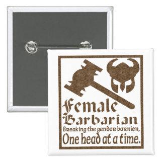 Female Barbarian 15 Cm Square Badge
