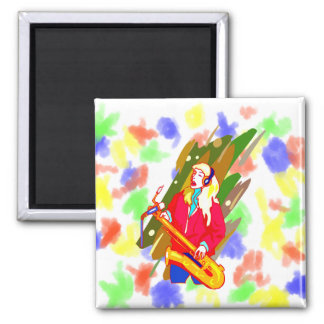 Female Baritone Sax Player Singing Graphic Design Square Magnet