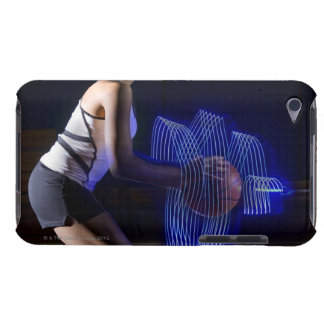 Female basketball player holding ball with iPod touch cases