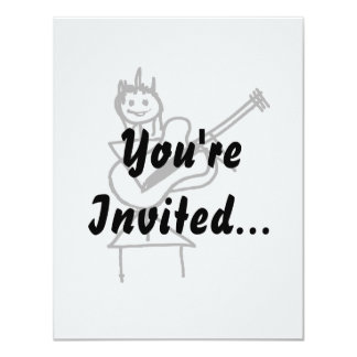 female bass guitar stick figure black and white 11 cm x 14 cm invitation card