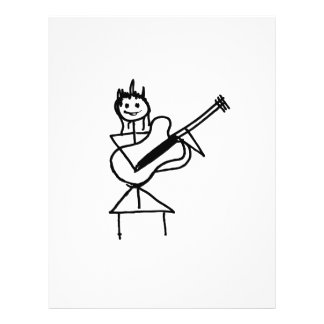 female bass guitar stick figure black and white custom flyer