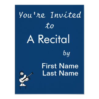 "female bass guitar stick figure black and white 4.25"" x 5.5"" invitation card"