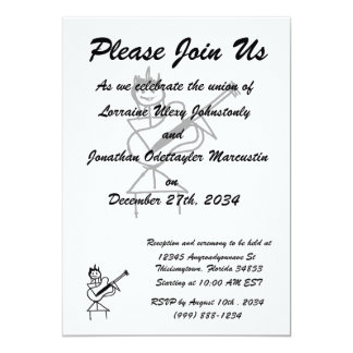 "female bass guitar stick figure black and white 5"" x 7"" invitation card"