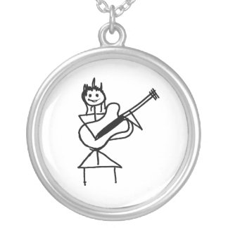 female bass guitar stick figure black and white silver plated necklace
