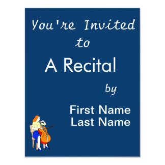 Female bass orchestra yellow shirt.png 11 cm x 14 cm invitation card