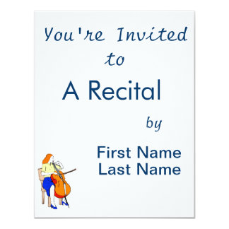 Female bass orchestra yellow shirt.png 4.25x5.5 paper invitation card