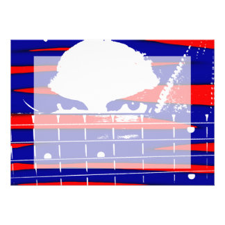 Female bass player eyes blue red personalised invites