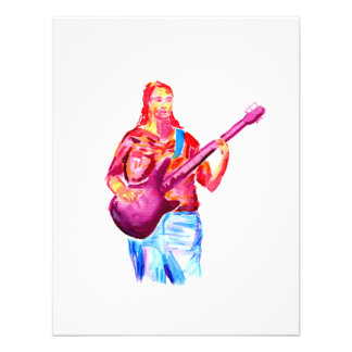Female bass player watercolour painting, colourful custom invitations